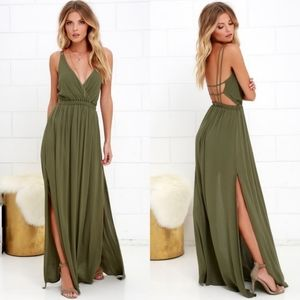 Lulu's Lost In Paradise Maxi Dress Green M
